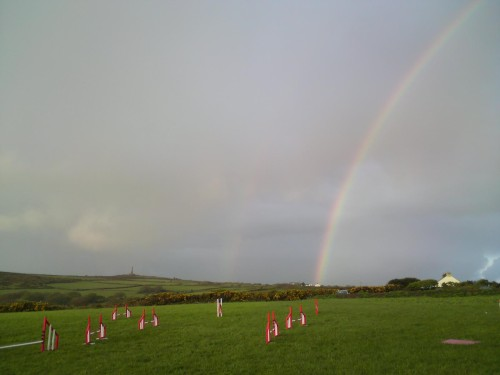 Lovely double rainbow, carn brea monument in the distance