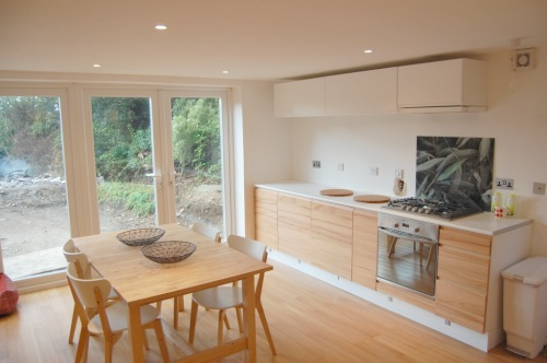 The new kitchen and French windows