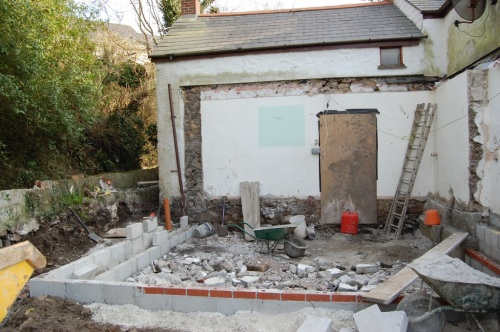 Old kitchen demolished, foundations in